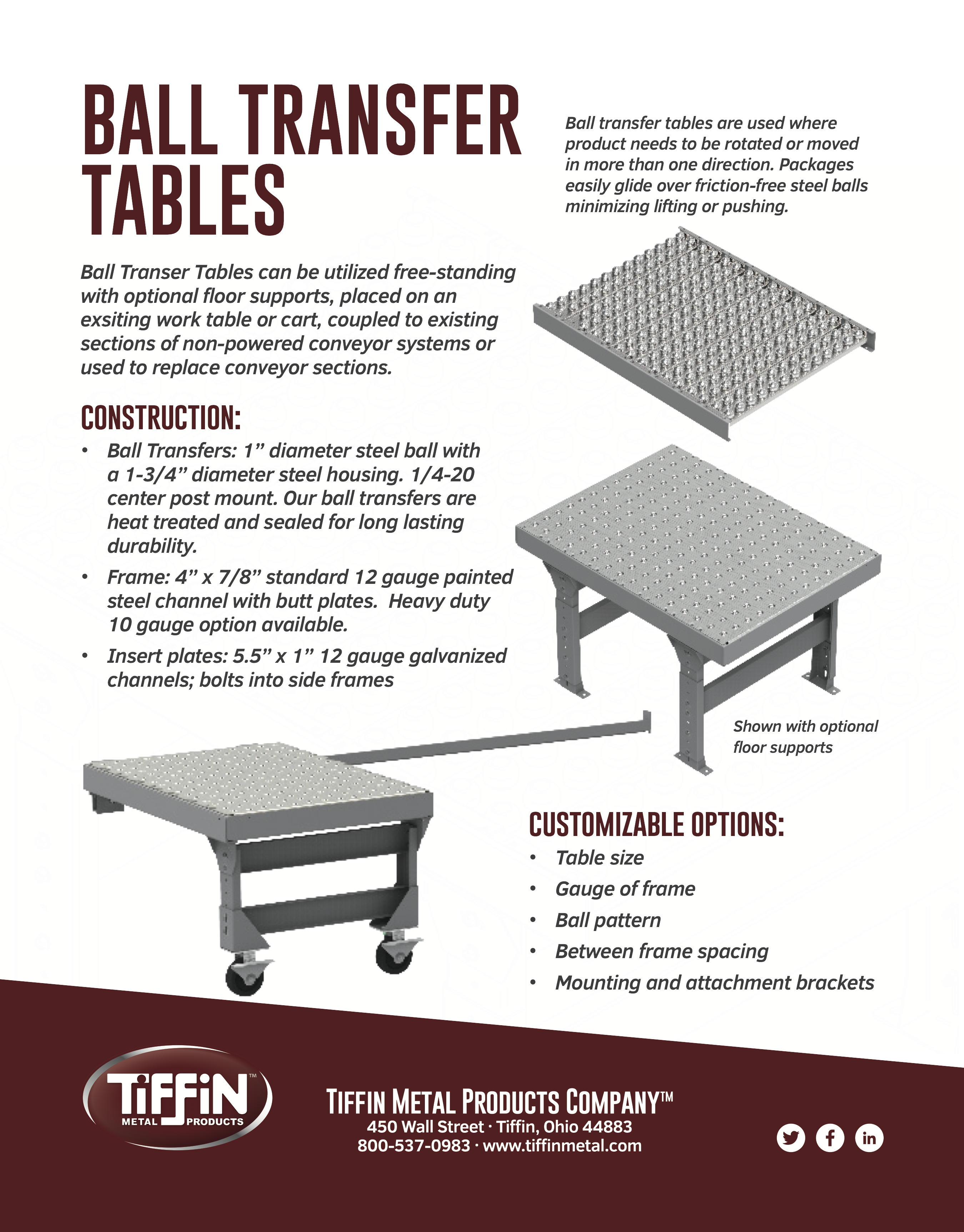 Ball Transfer Tables Tiffin Metal Products